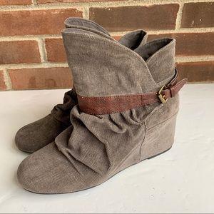 Aldo corduroy upper wedge ankle boots